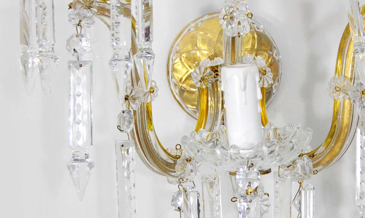 Aplique de pared con brazos de cristal estilo maria teresa - Lamparas de aplique para pared ...