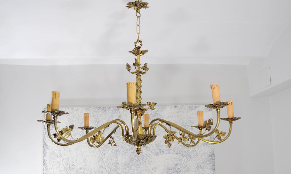 Lampara de techo 8 brazos de bronce restauraci n de - Lampara de salon techo ...