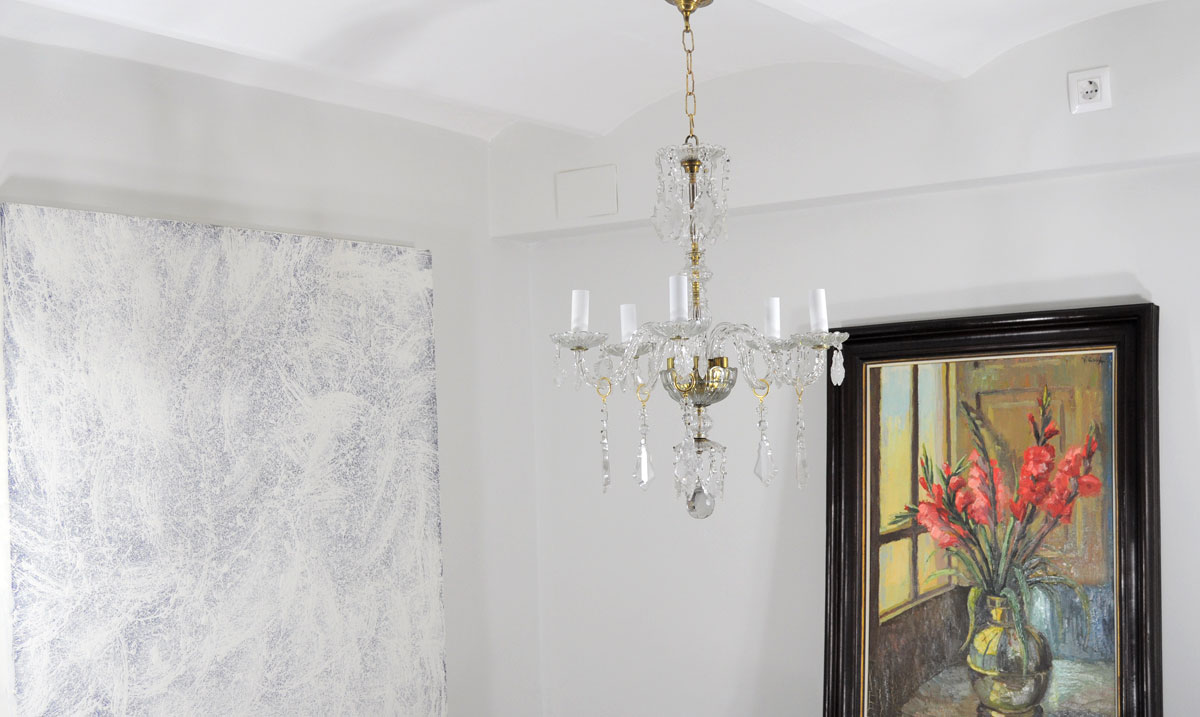 Lampara de techo ara a antigua 5 brazos cristal checo - Lamparas de arana antiguas ...