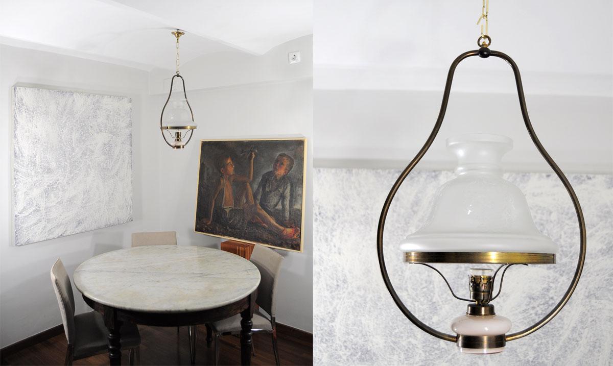 Lampara de techo quinque con deposito de cristal - Precios de lamparas ...