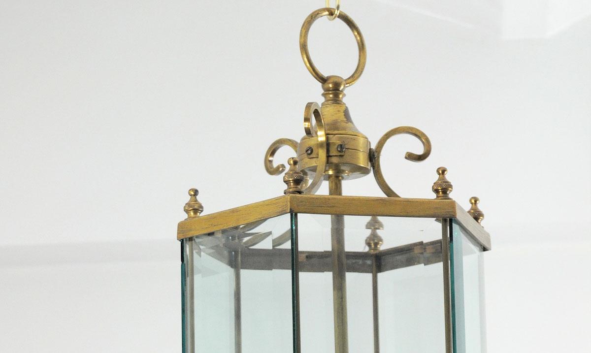 Farol de bronce hexagonal con cristal biselado - Lamparas de cristal antiguas ...