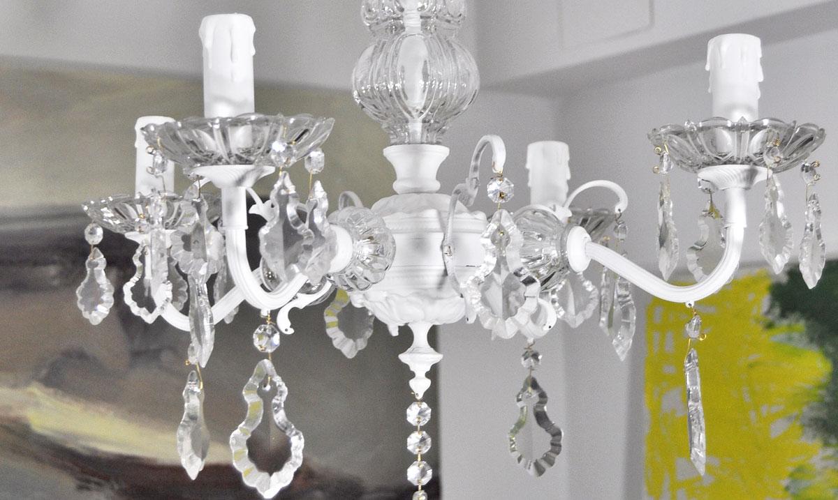 Lampara de techo ara a de bronce y cristal de 4 brazos - Lamparas cristal antiguas ...