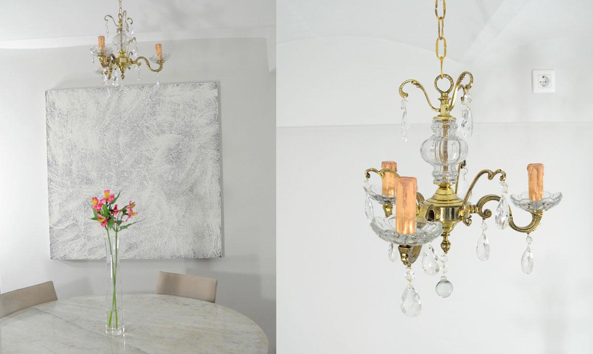Lampara de techo ara a de bronce con cuerpo y colgantes de - Lampara de arana de cristal ...