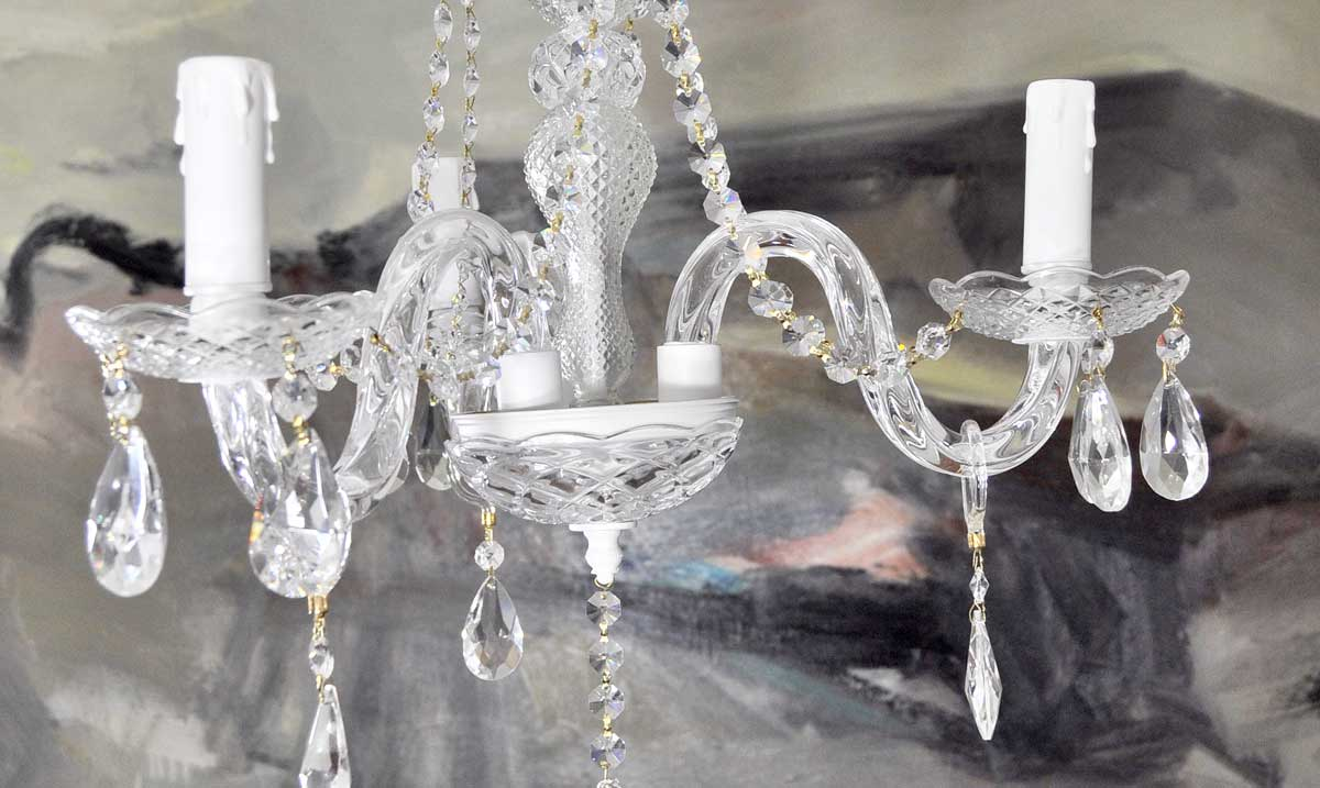 L mpara ara a de cristal 3 brazos modelo blanco lamparas - Lamparas de arana antiguas ...